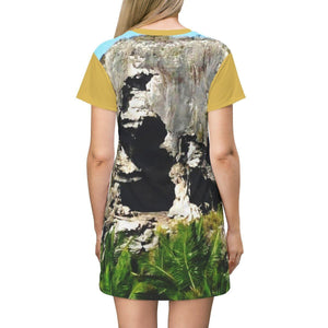 AOP T-shirt Dress - Caves of Mona Island - 50 miles off Puerto Rico All Over Prints Printify