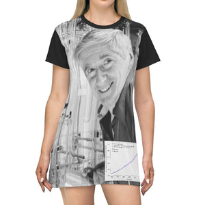 AOP T-shirt Dress - Charles Keeling - Discovery of CO2 World Emissions Keeling Curve - Scrippts Inst and NOAA - Tech History - Yunque Store