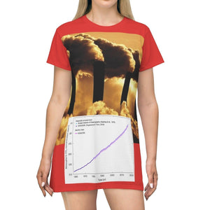 AOP T-shirt Dress - Charles Keeling - Discovery of CO2 World Emissions Keeling Curve - Scrippts Inst and NOAA - Tech History All Over Prints Printify