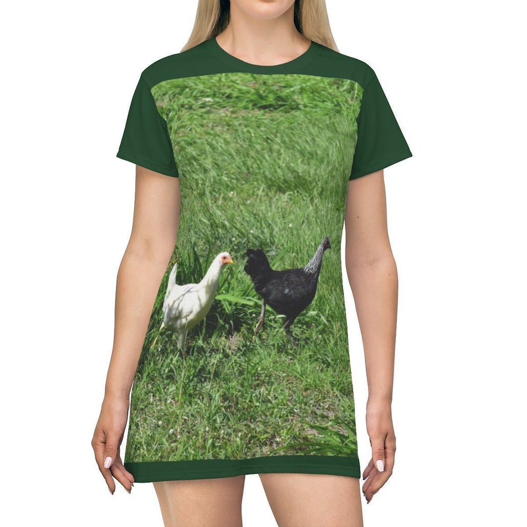 AOP T-shirt Dress - Chicken at Play - Isabela - Puerto Rico All Over Prints Printify