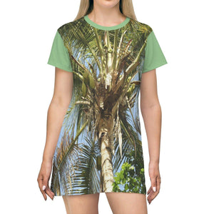 AOP T-shirt Dress - Coconut Palm - Luquillo Beach - Puerto Rico All Over Prints Printify