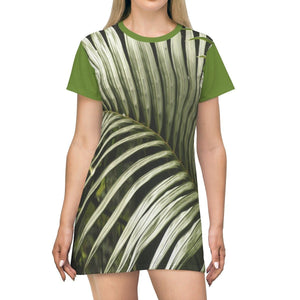 AOP T-shirt Dress - Coconut tree Palms leaves - Puerto Rico All Over Prints Printify