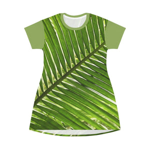 AOP T-shirt Dress - Coconut tree Palms tree leaves - Puerto Rico All Over Prints Printify