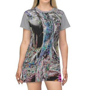 AOP T-shirt Dress - Color Mapped image of Old Pal Lying on fried - Tradewinds Trail - El Yunque rainforest - Puerto Rico - Yunque Store