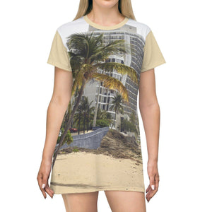 AOP T-shirt Dress - Condado beach in San Juan - Puerto Rico All Over Prints Printify