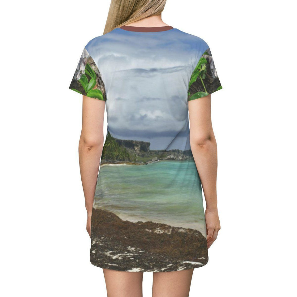 AOP T-shirt Dress - Costal 'Cobo' in Mona and Pajaros beach (its habitat) in back - Puerto Rico All Over Prints Printify
