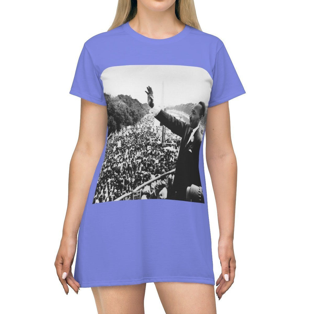 AOP T-shirt Dress - Dr. Martin Luther King - Lifelong preacher and Heroic Black rights defender - USA All Over Prints Printify
