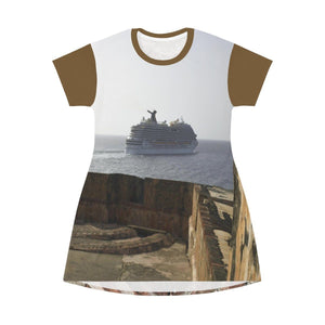 AOP T-shirt Dress - El Morro - a Spanish fortress and departing ship - Old san Juan PR All Over Prints Printify