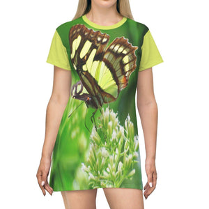 AOP T-shirt Dress - El Yunque rainforest - butterfly next to river - Puerto Rico All Over Prints Printify