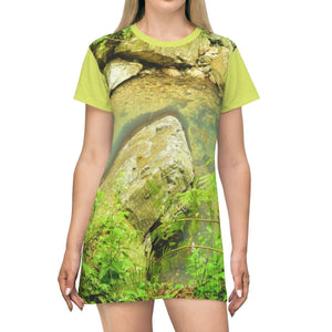 AOP T-shirt Dress - El Yunque rainforest - La Mina river trail before Hurr. Maria - Puerto Rico All Over Prints Printify