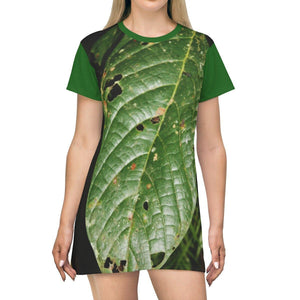 AOP T-shirt Dress - El Yunque rainforest - large dark lower forest leaf - Puerto Rico All Over Prints Printify