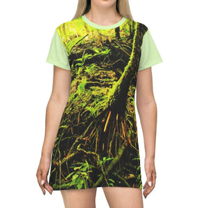 AOP T-shirt Dress - Exploration Holy Spirit river in 2015 before Hurr. Maria - El Yunque rainforest - Puerto Rico All Over Prints Printify