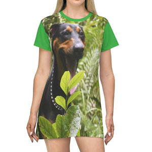 AOP T-shirt Dress - Firo the explorer dog - Rio Sabana park - El Yunque PR - Yunque Store