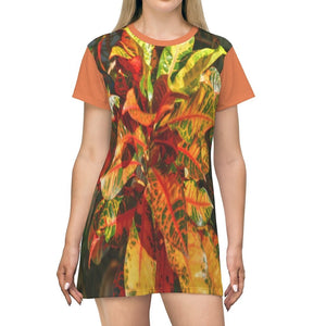 AOP T-shirt Dress - garden colorfull leaves decorative plant - Isabela - Puerto Rico - Yunque Store