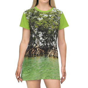 AOP T-shirt Dress - Gilligan Island mangrove - Guanica - Puerto Rico All Over Prints Printify