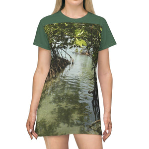 AOP T-shirt Dress - Gilligan Island (mangrove) - Guanica - Puerto Rico All Over Prints Printify