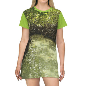 AOP T-shirt Dress - Gilligan Island mangroves in Guanica - Puerto Rico - Yunque Store