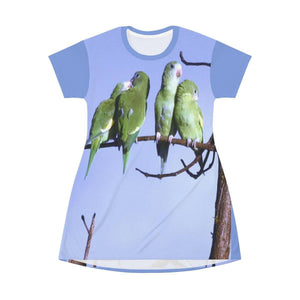 AOP T-shirt Dress - Green Parrots - Humacao - Puerto Rico All Over Prints Printify