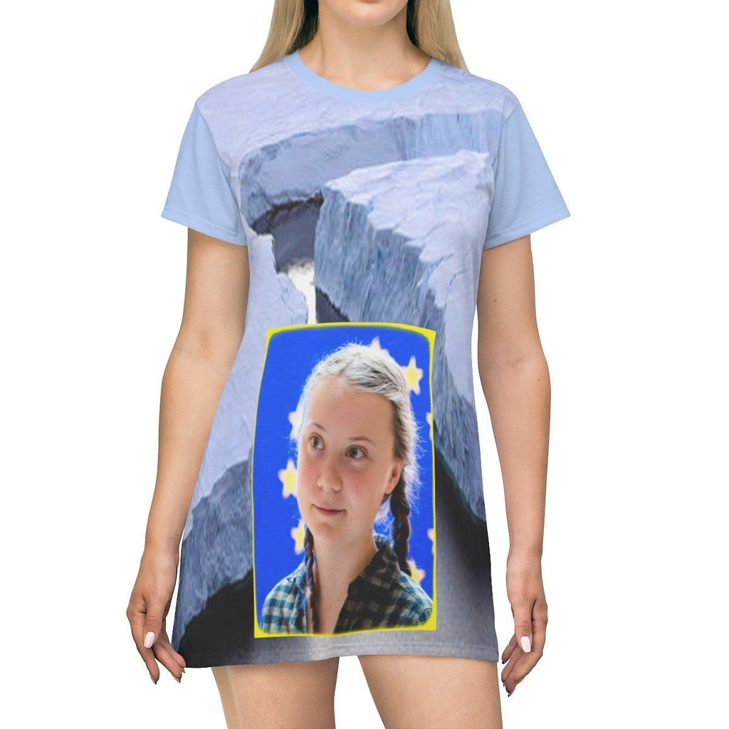AOP T-shirt Dress - Greta and Global Warming image of melting/cracking poles - Small CO2 Keeling curve on back All Over Prints Printify