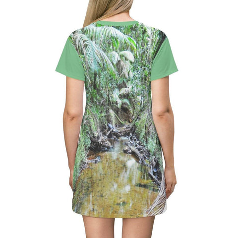 Image of AOP T-shirt Dress - Holy Spirit River explorations in 2015 before Hurr. Maria - El Yunque rainforest - Puerto Rico All Over Prints Printify