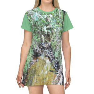 AOP T-shirt Dress - Holy Spirit River explorations in 2015 before Hurr. Maria - El Yunque rainforest - Puerto Rico All Over Prints Printify