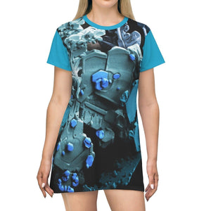 AOP T-shirt Dress - Ice crystals seen via Field Ion Microscope - The Micro Universe All Over Prints Printify