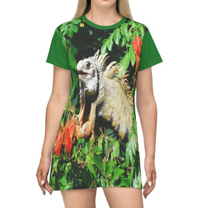AOP T-shirt Dress - Iguana on flowering tree - Puerto Rico All Over Prints Printify