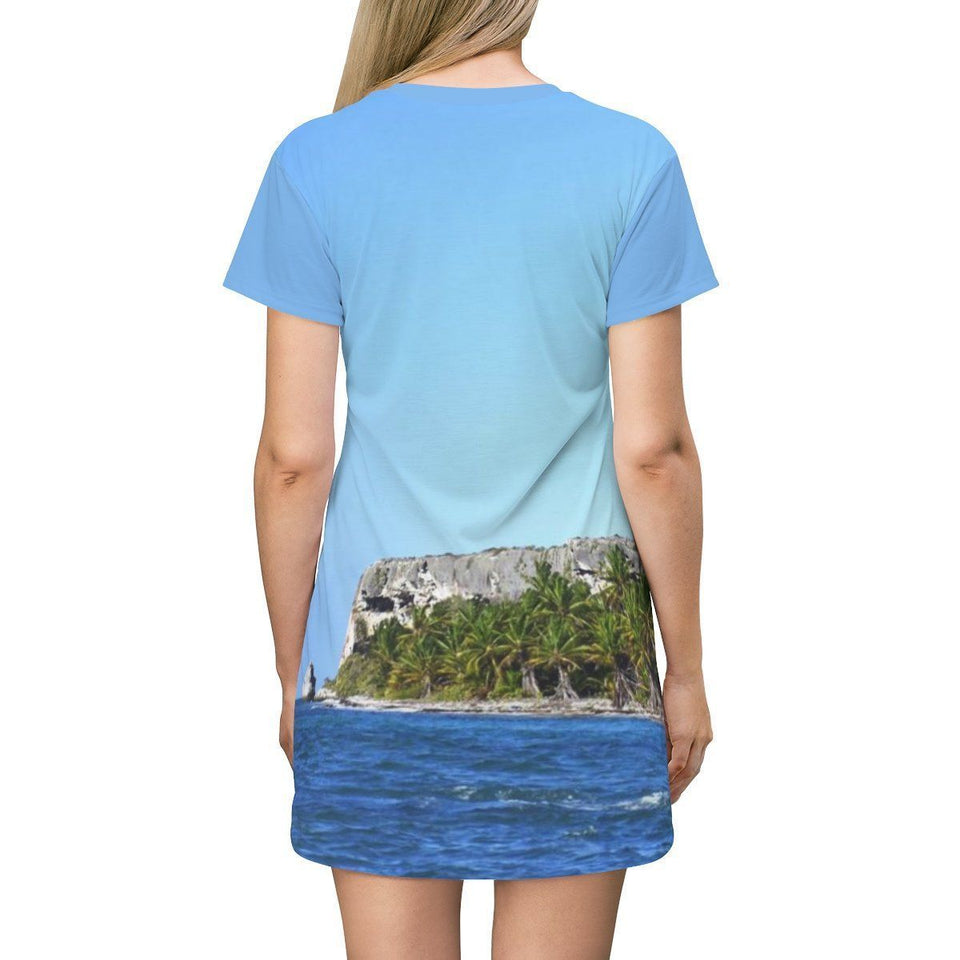 AOP T-shirt Dress - Image of Mona's distant caves and Palm forest from boat - Puerto Rico All Over Prints Printify