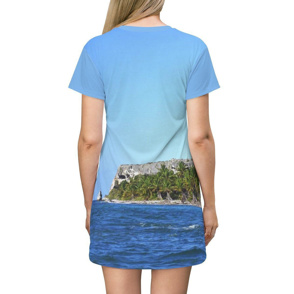 AOP T-shirt Dress - Incredible images of Mona's caves and Palm forest from boat - Puerto Rico All Over Prints Printify