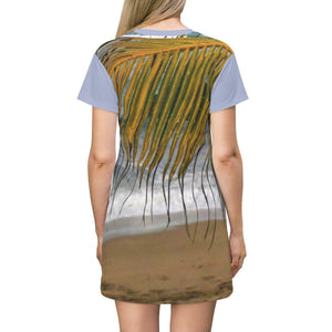 AOP T-shirt Dress - Isabela Hau beach wood walk - children playing and view of ocean - Puerto Rico All Over Prints Printify