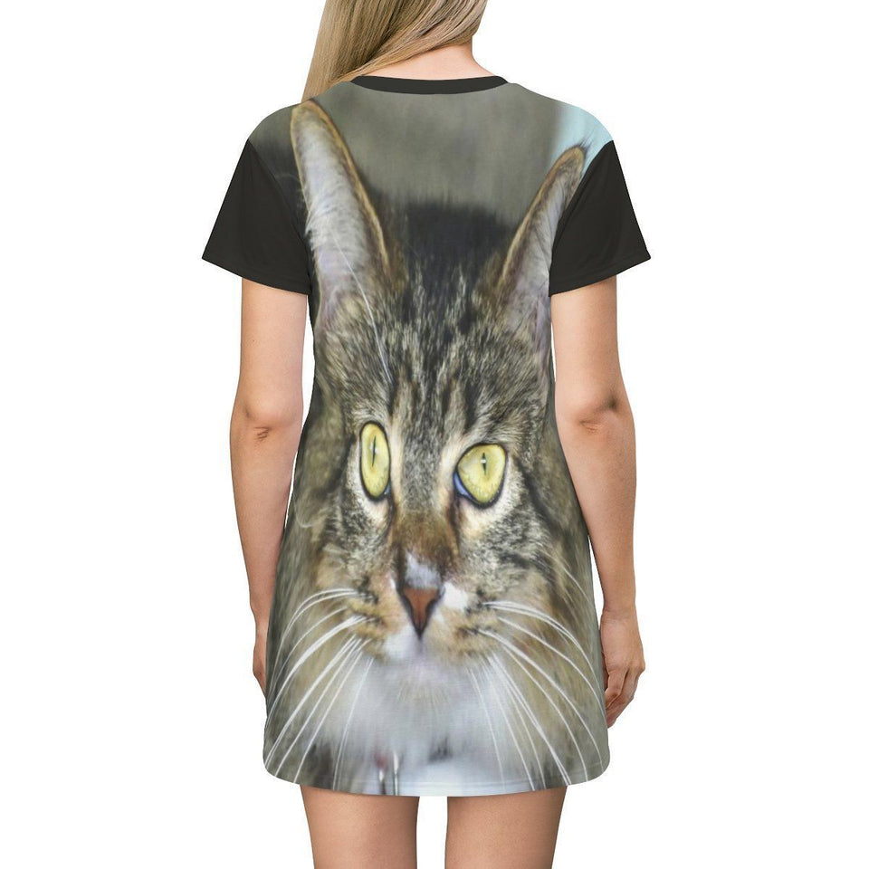 AOP T-shirt Dress - It's a cats life in Puerto Rico All Over Prints Printify