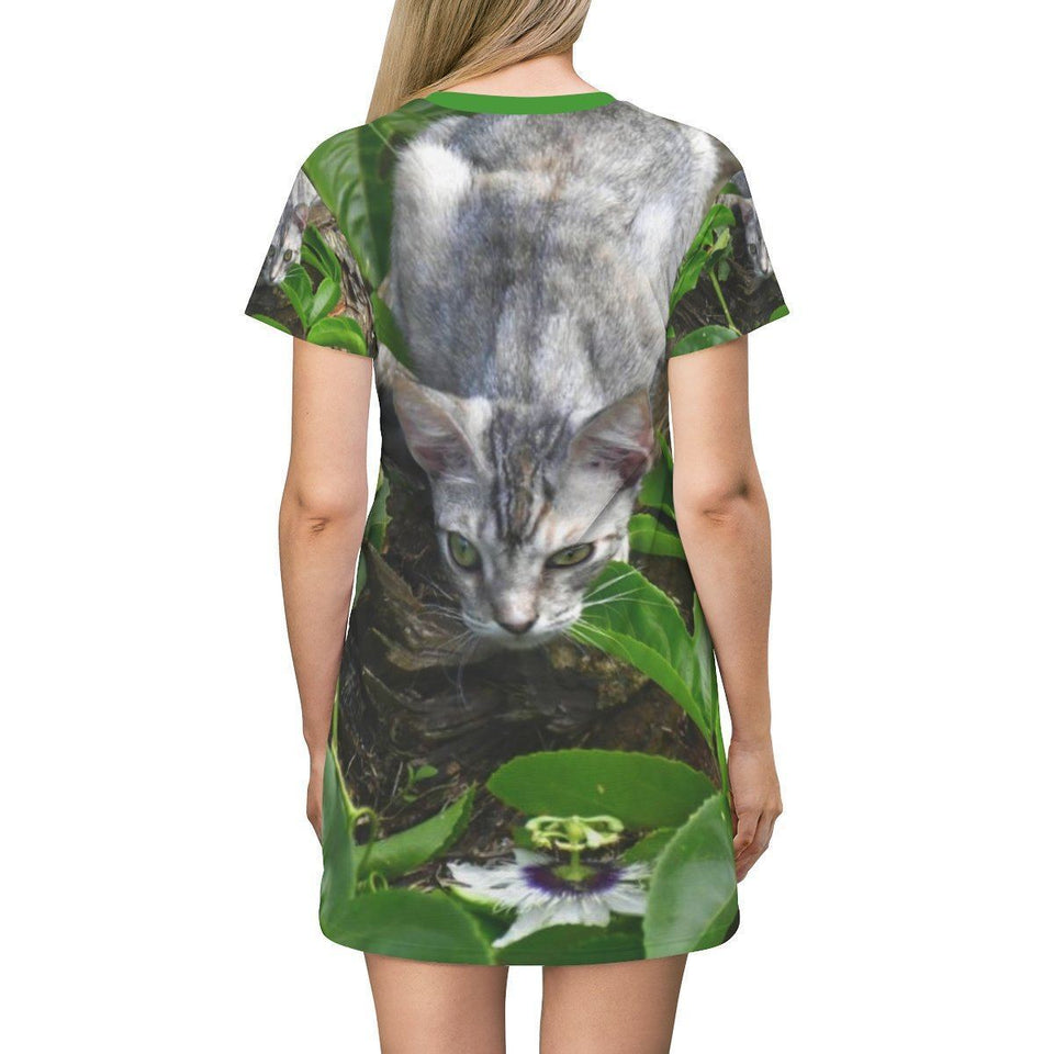 AOP T-shirt Dress - Jose's baby cat hunting - Isabela Puerto Rico All Over Prints Printify