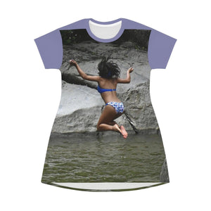 AOP T-shirt Dress - Jump in pond in Naguabo Rio Blanco pond - El Yunque rainforest - Puerto Rico All Over Prints Printify