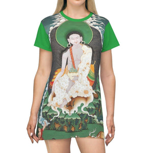 AOP T-shirt Dress - Maha Siddha Yogi Milarepa - Radiating HOPE - Himalayas Caves - Tibet - Buddhism All Over Prints Printify