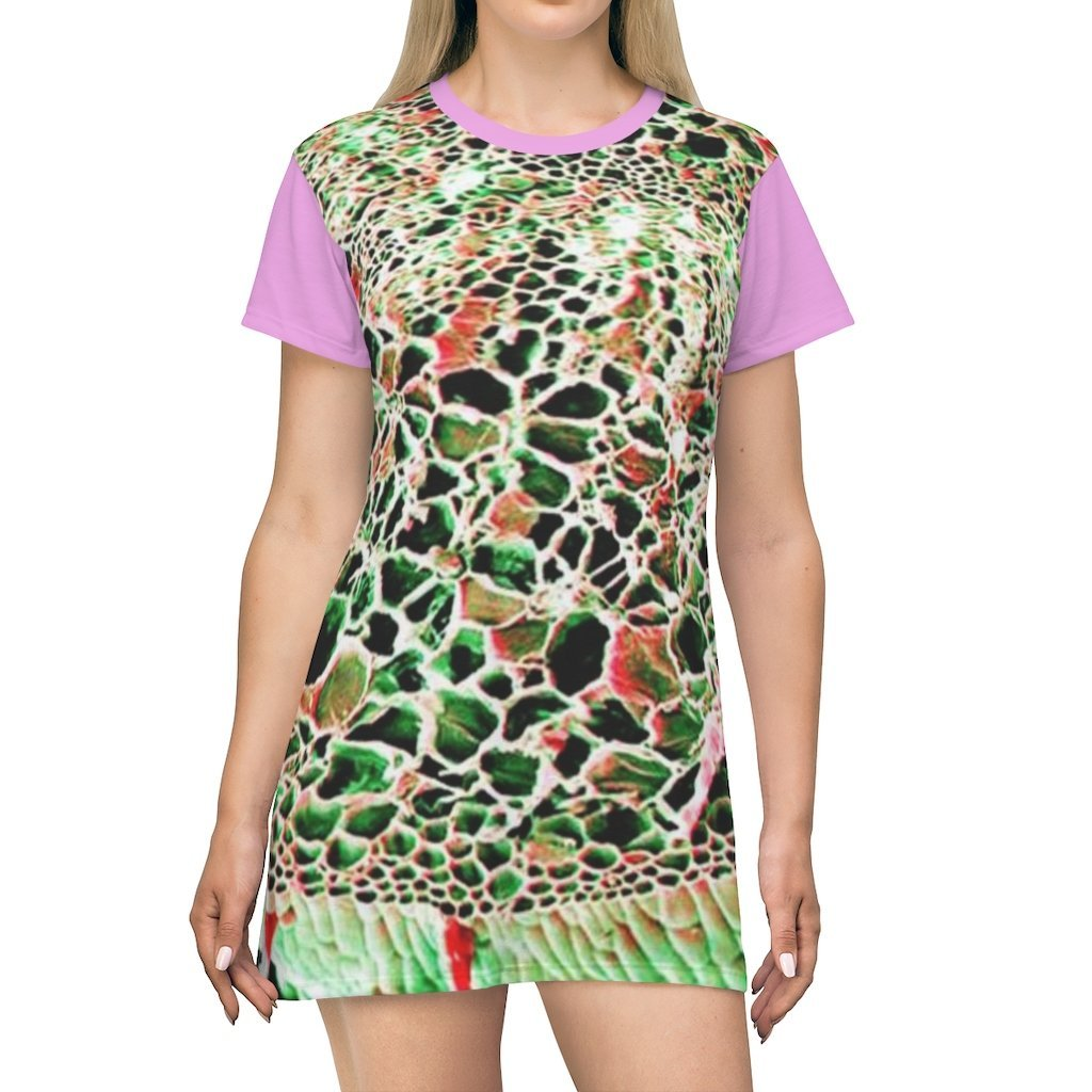 AOP T-shirt Dress - Micro images of marijuana stem and plantation in Colombia - Yunque Store