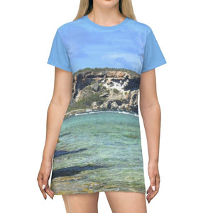 AOP T-shirt Dress - Middle View of Pajaros beach of Mona Island - Puerto Rico - Yunque Store