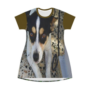 AOP T-shirt Dress - Mini Manchas (spot) and Cylinder (fatty) - Isabela - Puerto Rico All Over Prints Printify