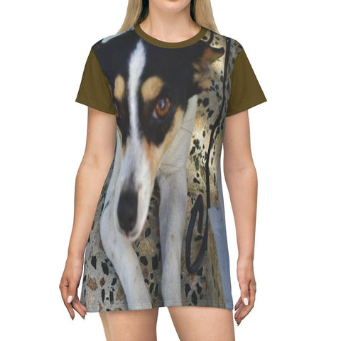 Image of AOP T-shirt Dress - Mini Manchas (spot) and Cylinder (fatty) - Isabela - Puerto Rico All Over Prints Printify