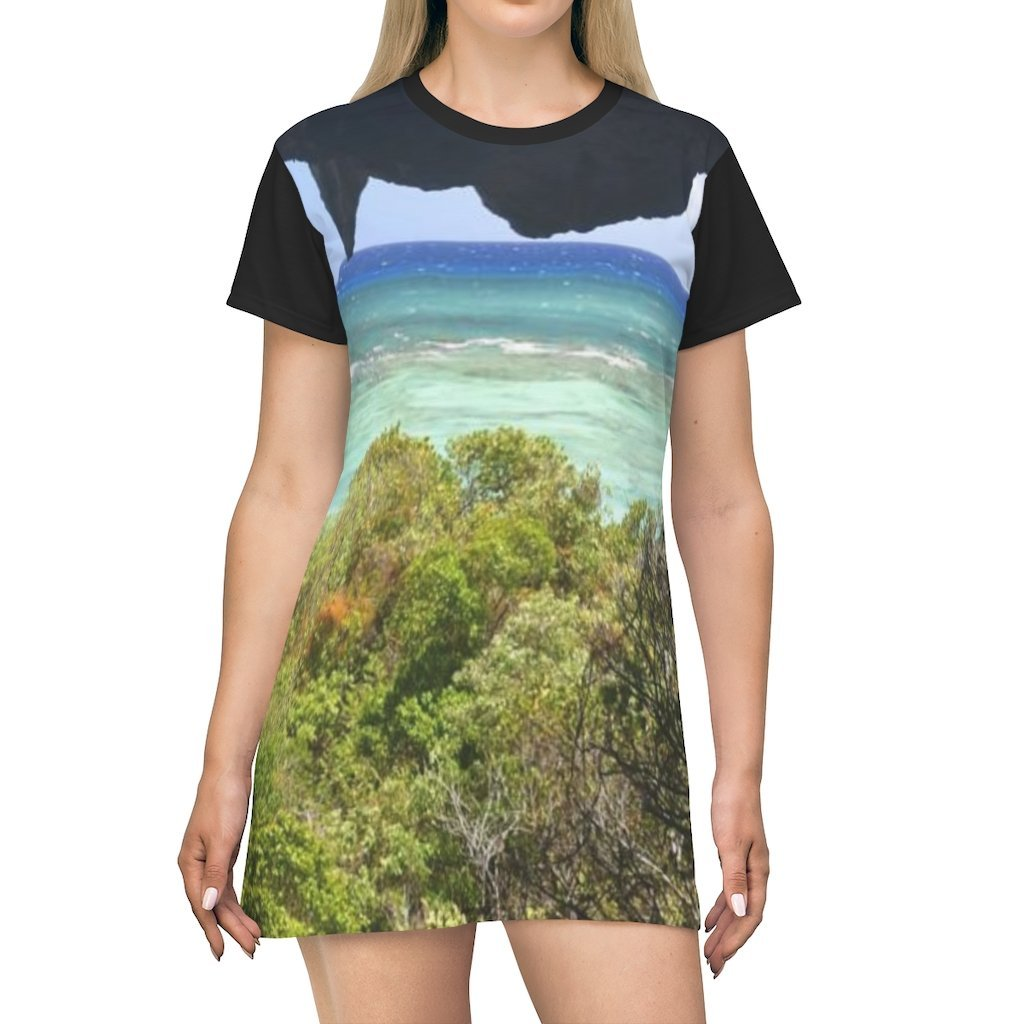 AOP T-shirt Dress - Mona's caves exploration in 2019 with PR Sierra Club - Puerto Rico - Yunque Store