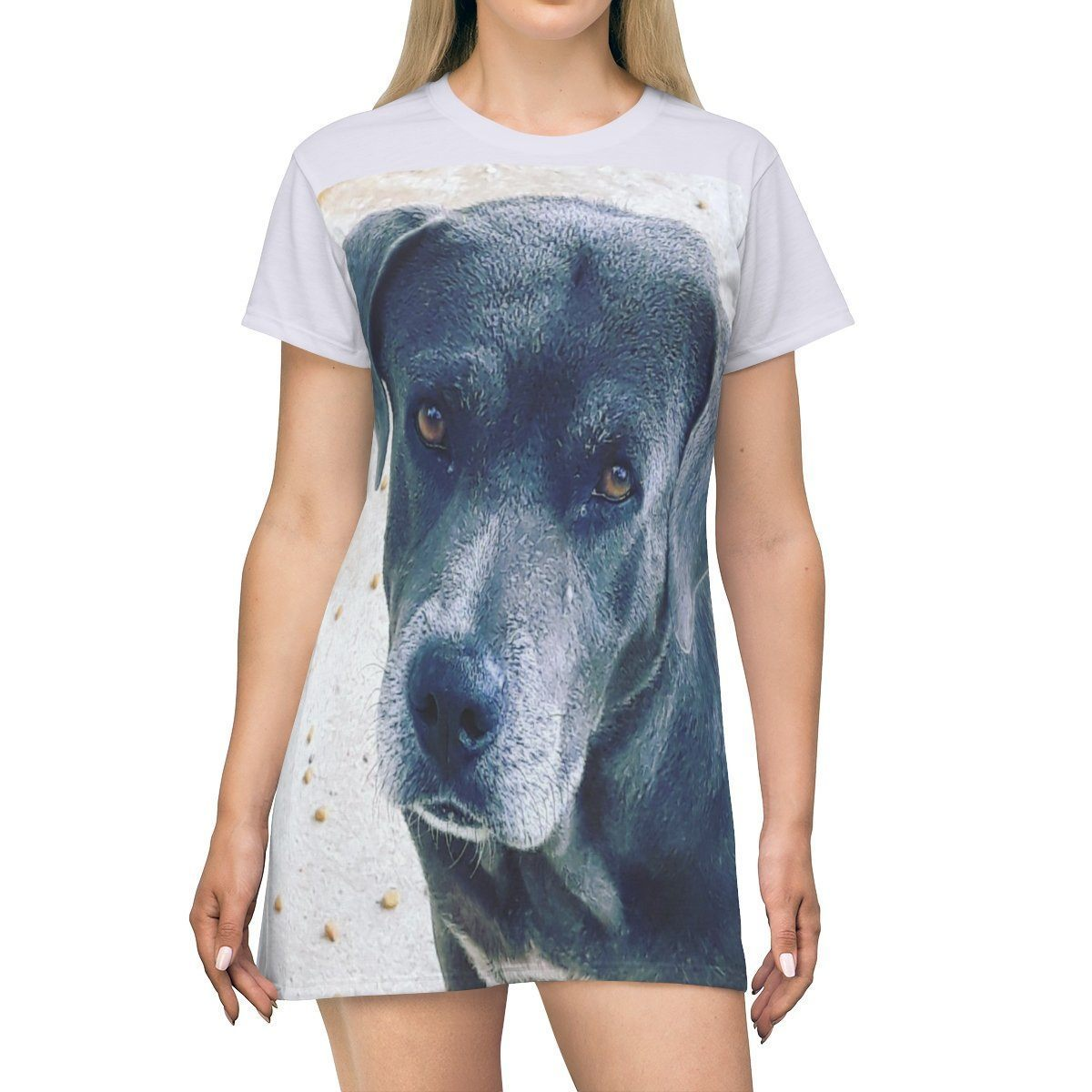 AOP T-shirt Dress - Mother dog and 3-Puppies on back - Isabela Puerto Rico All Over Prints Printify