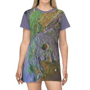 AOP T-shirt Dress - NASA 2020 Planned Landing place -Jezero Crater on Mars - The Macro Universe All Over Prints Printify
