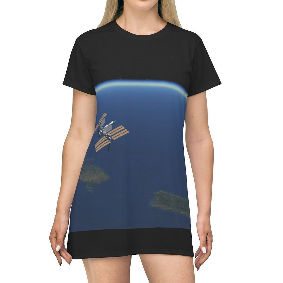 AOP T-shirt Dress - NASA ISS over PR and the East Coast on back - The Macro Universe All Over Prints Printify