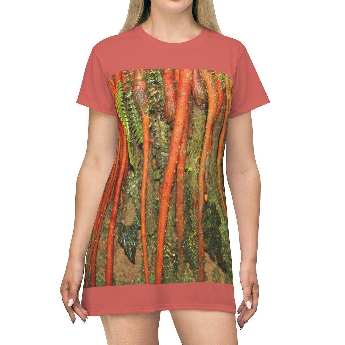 AOP T-shirt Dress - New (orange) roots of a high altitude Sierra Palm - El Yunque - Puerto Rico All Over Prints Printify