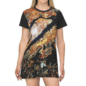 AOP T-shirt Dress - New York City from the NASA Space station - 500 miles away - The Macro Universe All Over Prints Printify