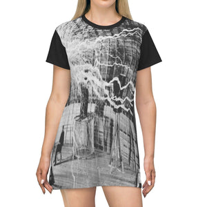 AOP T-shirt Dress - Nikola Tesla in his lab - the wireless transmission pioneer - B&W History All Over Prints Printify