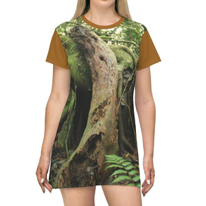 AOP T-shirt Dress - Old Pal Laying on friend - in El Yunque PR - the cloud forest in a sunset - Tradewinds trail All Over Prints Printify