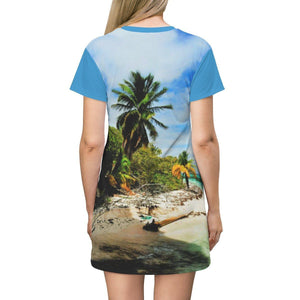 AOP T-shirt Dress - - Pajaros beach corner - Remote Mona Island PR All Over Prints Printify