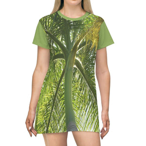 AOP T-shirt Dress - Palms tree and its leaves - Puerto Rico All Over Prints Printify
