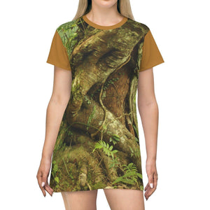 AOP T-shirt Dress - Parasite tree on Palo Colorado - 14KM tradewinds trail - El Yunque rainforest - Puerto Rico All Over Prints Printify