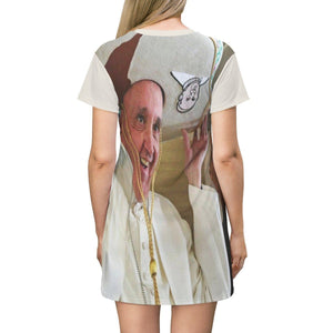 AOP T-shirt Dress - Pope Francis with Mexican hat - Catholicism All Over Prints Printify